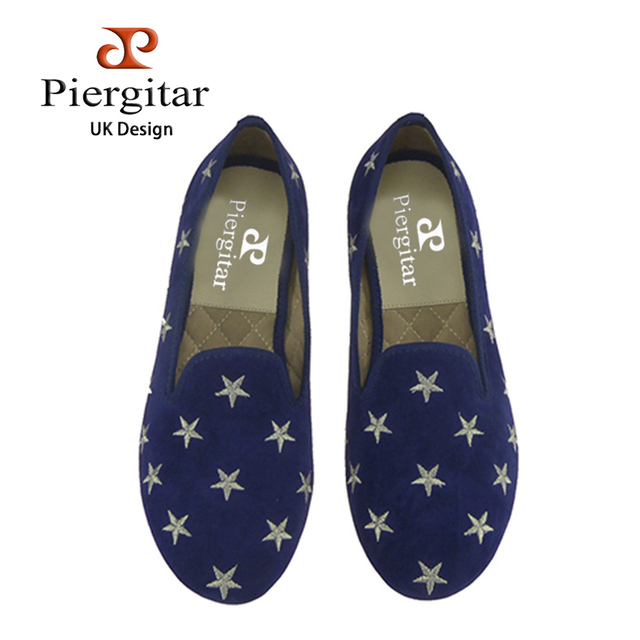 Piergitar new style Aurumn women blue color velvet shoes embroidered stars  prom and banquet female loafers women s casual flats 0bcb83036a72