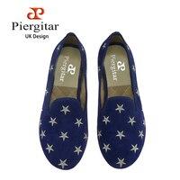 Piergitar yeni stil Aurumn kadınlar mavi renk kadife ayakkabı işlemeli yıldız balo ve ziyafet kadın loafers kadın casual daireler