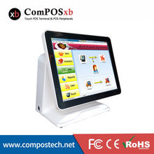Factory Price 15 Inch Touch Screen All in One PC With Built-in VFD Customer Display With Eat Food System