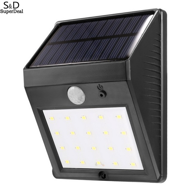 LED Solar Power Motion Sensor Wall Light Outdoor Waterproof Energy Saving Street Yard Path Home Garden Security Lamp 20 LEDs