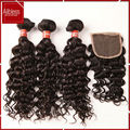 grade 10A 3 bundles virgin indian hair unprocessed water wave hair weaves weft with lace closure bleached knots free shipping