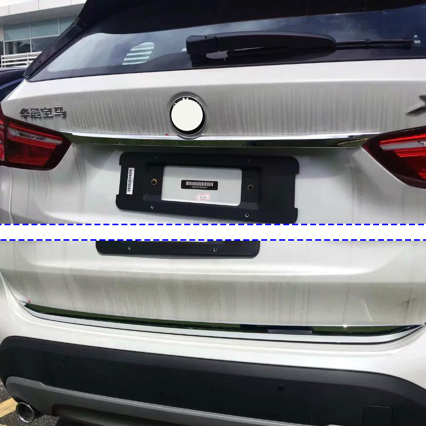 KOUVI 2pcs ABS chrome rear trunk lid cover trim molding garnish accessories for 2016 2017 BMW X1 F48 car styling 2pcs for bmw x1 f48 2016 17 abs matt chrome rear back net frame cover trim auto parts for bmw 2 series 218i f45 f46 car styling