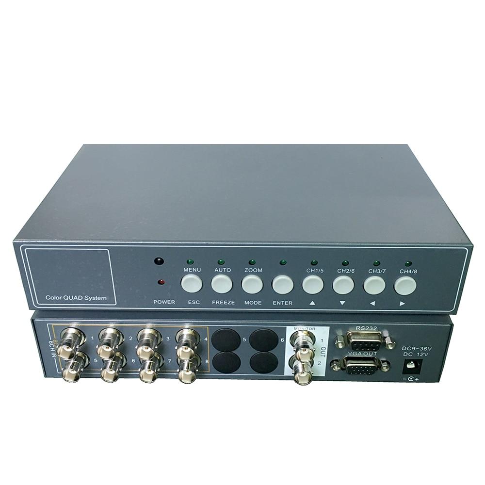 YiiSPO 8CH Video Splitter Hohe Leistung 8 chanle CCTV Prozessor Video Quad mit VGA/Bnc ausgang und Fernbedienung RS232-in CCTV-Teile aus Sicherheit und Schutz bei  Gruppe 1