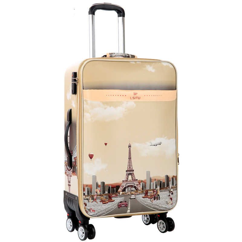 LeTrend, чемодан на колёсиках с рисунком башни, вертушка с паролем, тележка, 28 дюймов, большая емкость, чемодан на колесиках, 20 дюймов, сумки для путешествий