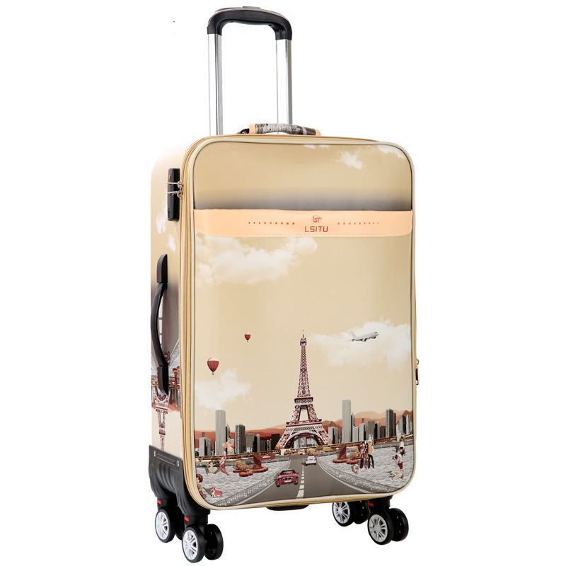 Tower pattern Rolling Luggage Spinner 26 inch password Trolley 28 inch large capacity Suitcase Wheels 20 inch Cabin Travel Bags