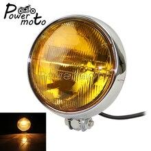 "Motorcycle Chrome Retro Bates Style 5.75"" Headlight Front Headlamp Amber Lens For Harley Cafe Racer Bobber Chopper Custom"