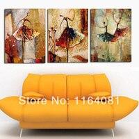 Ücretsiz Kargo Ev Dekorasyon Ev Dekor el-boyalı Duvar Sanatı Bale Soyut Yağlıboya Tablolar Dans Insanlar 3 Adet Olarak 1 takım