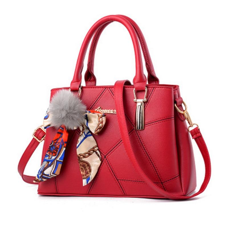 Luxury handbag handbags designer 2017 famous brand ladies shoulder bag PU scarf hair ball decorative stitching ladie handbag sac
