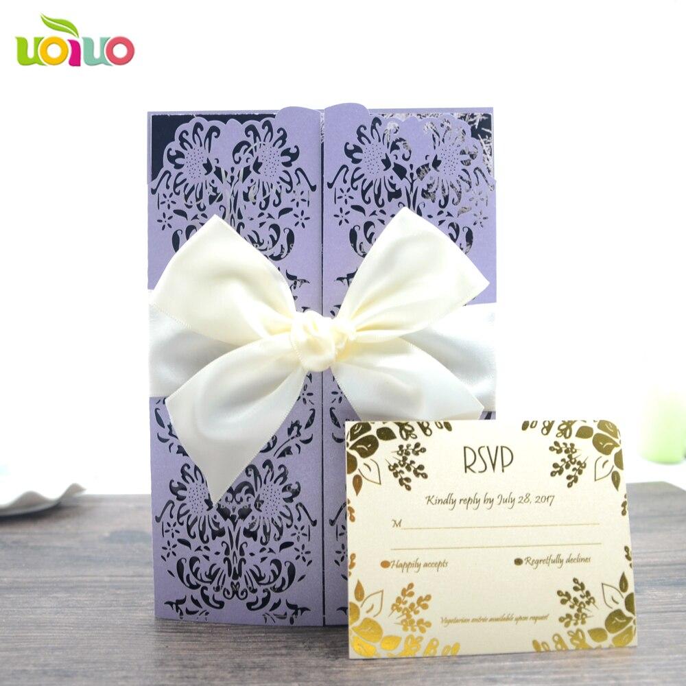Us 13 42 Wedding Decoration Rose Flower Light Purple Invitation Cards Printing Writing On Invitaiton Card In Invitations