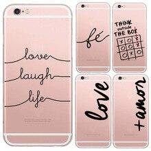 Nique português palavras de Amor Amor transparente de silicone macio caso capa para Apple Iphone 6 6 S capa