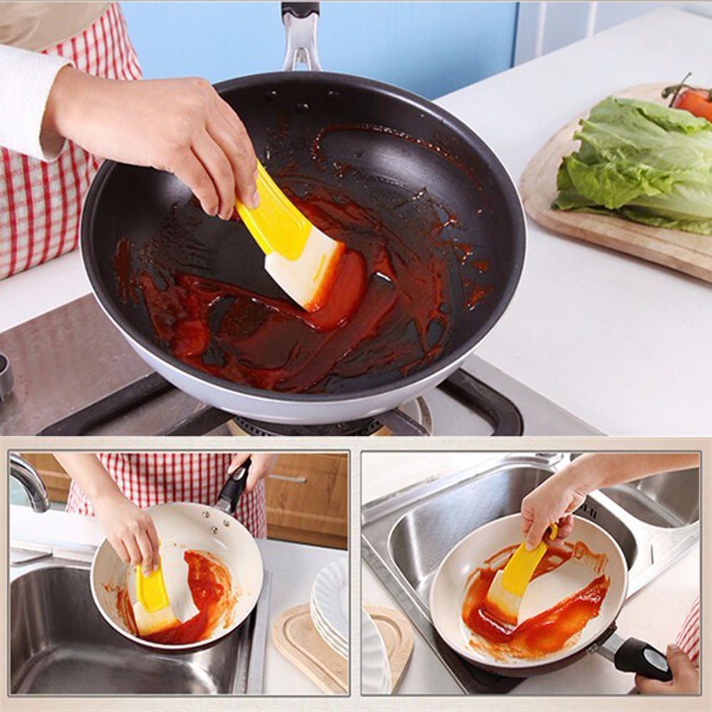 Pan Cleaning Scraper Pastry Spatulas 6.02*2.36*0.31 Silicone Kitchen Spatula Cake Baking Tool Household Cleaning Tools