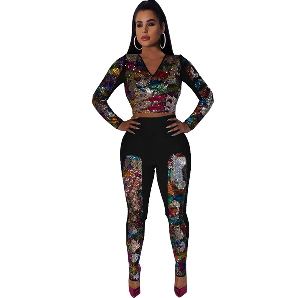 new women 39 s sequins jumpsuit two piece sexy nightclub jumpsuit red black blue jumpsuit in Jumpsuits from Women 39 s Clothing