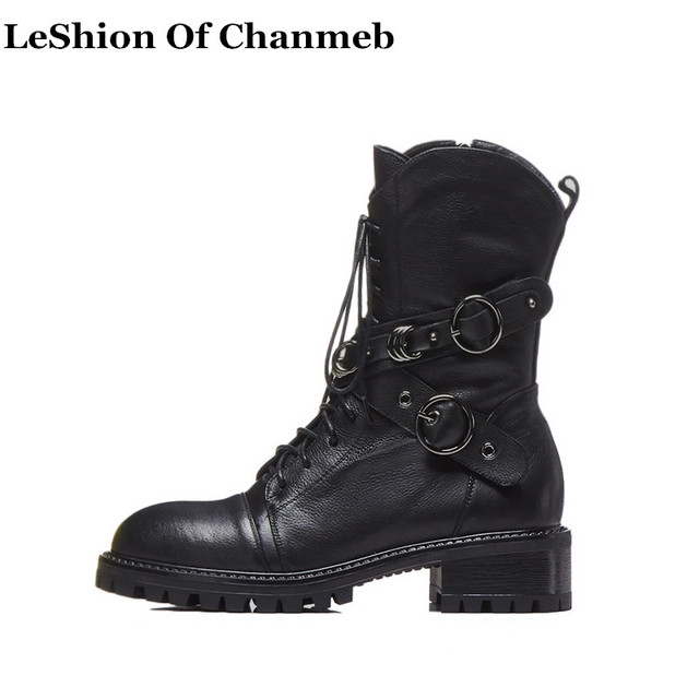 5c9698066a0 US $67.12 40% OFF|2019 real leather combat boots silvery ring decoration  platforms chunky heel boots for women lace up military boots buckle  strap-in ...