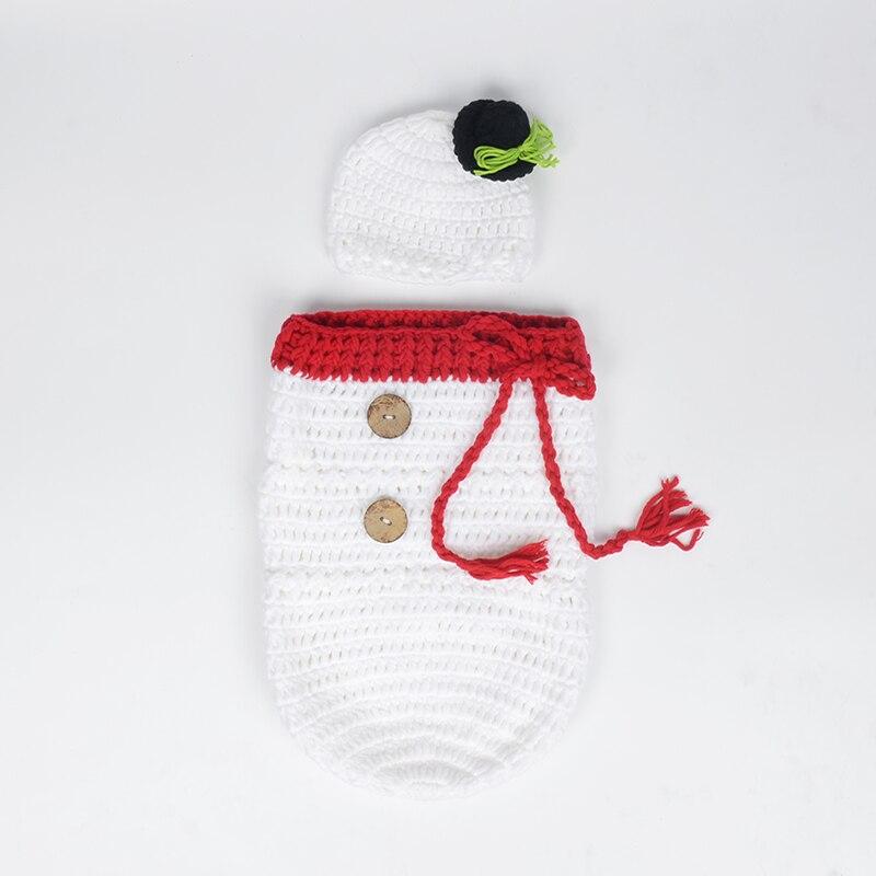 Для новорожденных вязаные крючком фотографии Обёрточная бумага Рождество Bebe Санта лося спальный мешок + шляпа рождество костюмы реквизит д...