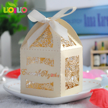 50pcs/set Romantic Wedding favors  Candy Cookie Gift Boxes Party Box with Ribbon Eid