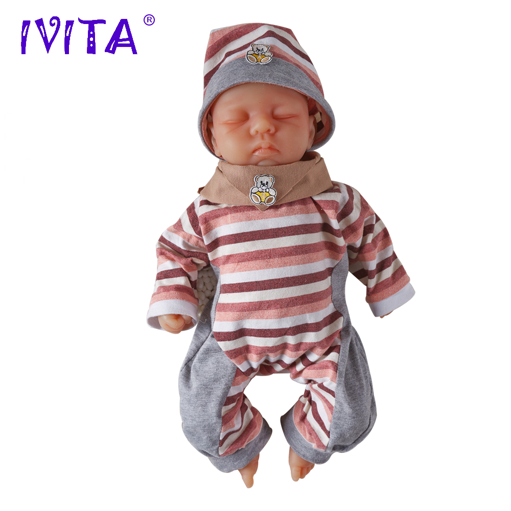 IVITA 18.5 Inch 3700g Silicone Reborn Babies Realistic Closed Eyes Soft Lifelike Handmade Realistic Reborn Silicone Dolls Toys