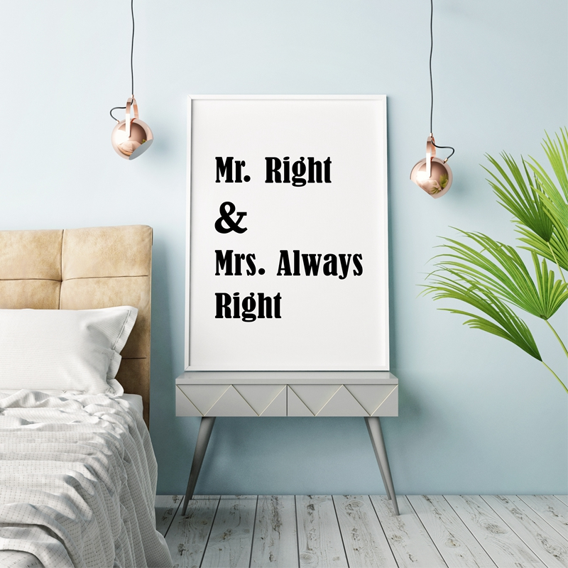 Bedroom Decor From Mr Price Home Bedroom Furniture Metal Bedroom Design Ideas For Apartments Romantic Bedroom Paint Colors Ideas: Mr. Right And Mrs. Always Right Love Quote Canvas Art