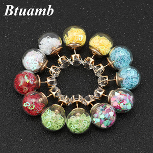 Btuamb New Maxi Colorful Sequins Love Heart Earrings Crystal Double Sides Big Ball Stud Earrings for Women Jewelry Free Style(China)