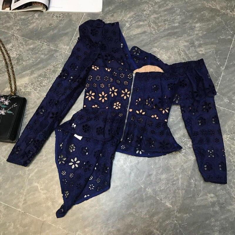 Haute qualité dentelle Blouse 2019 printemps été Sexy fête chemise femmes à volants col Vintage bouton Flare manches dentelle chemise Blusas - 5