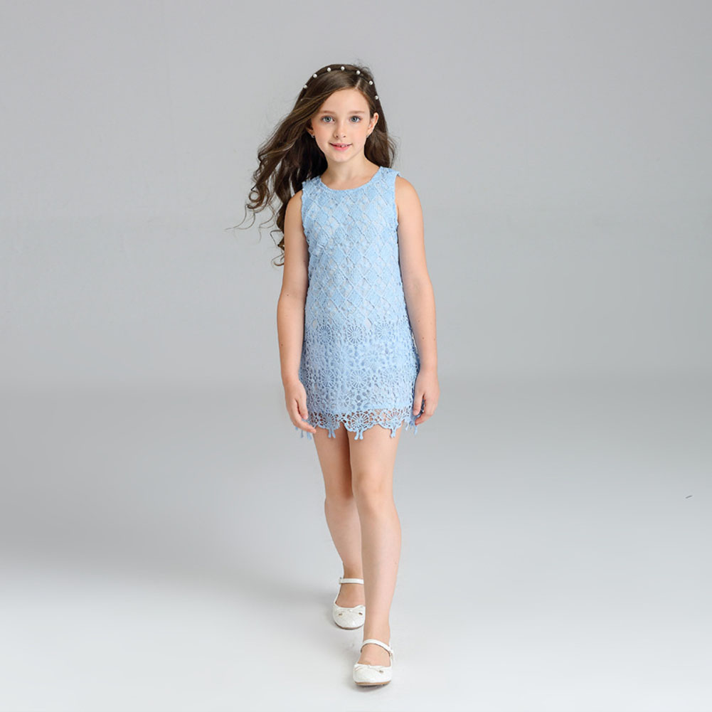 2017 New Summer Toddler Kids Girls Sleeveless T-shirt Dress Children Girls Elegant Lace Dresses Light Blue Dress For 3-7Y automatic nut seeds oil expeller cold hot press machine oil extractor dispenser 350w canola oil press machine