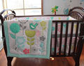 Birds Flowers Baby Bedding Set Cot Crib Bedding Set for Girls Boys Includes Cuna Quilt Baby Bed Bumper Sheet Skirt