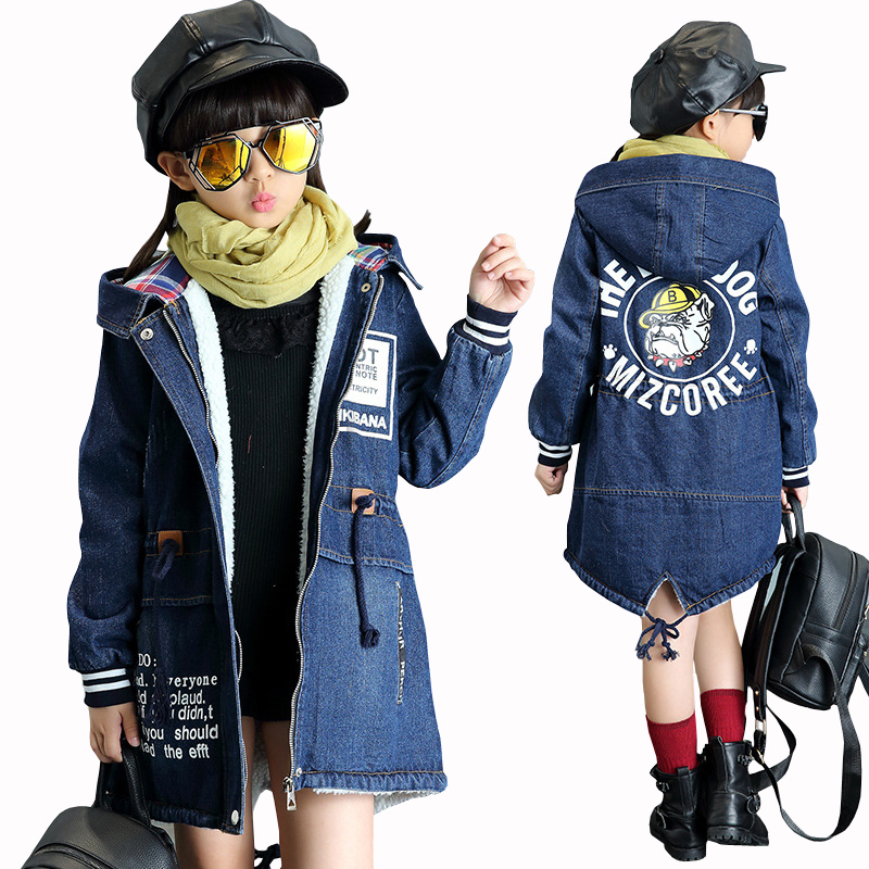 New Winter Girls Jacket Children Denim Jackets Long Warm Clothing Kids Plus Thick Velvet Jacket Cotton Hooded Outwear for Girl paul frank baby boys supper julius fleece hoodie