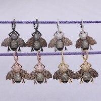 新しい!マイクロパヴェcz高品質小さな蜂昆虫イヤリングリアルな昆虫ジュエリーカブトムシファッションbイヤリングギフト用women2712
