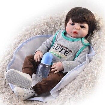 "Bebes reborn menino 23""57cm complete silicone reborn baby doll toys for child gift newborn babies boy doll NPK"