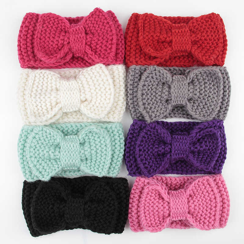 Wholesale 20pcs/lot Fashion Baby Turban Ear Warm Headwrap Crochet Knitted Bow Hairband Hair Bands For Baby Girl Infant Toddler