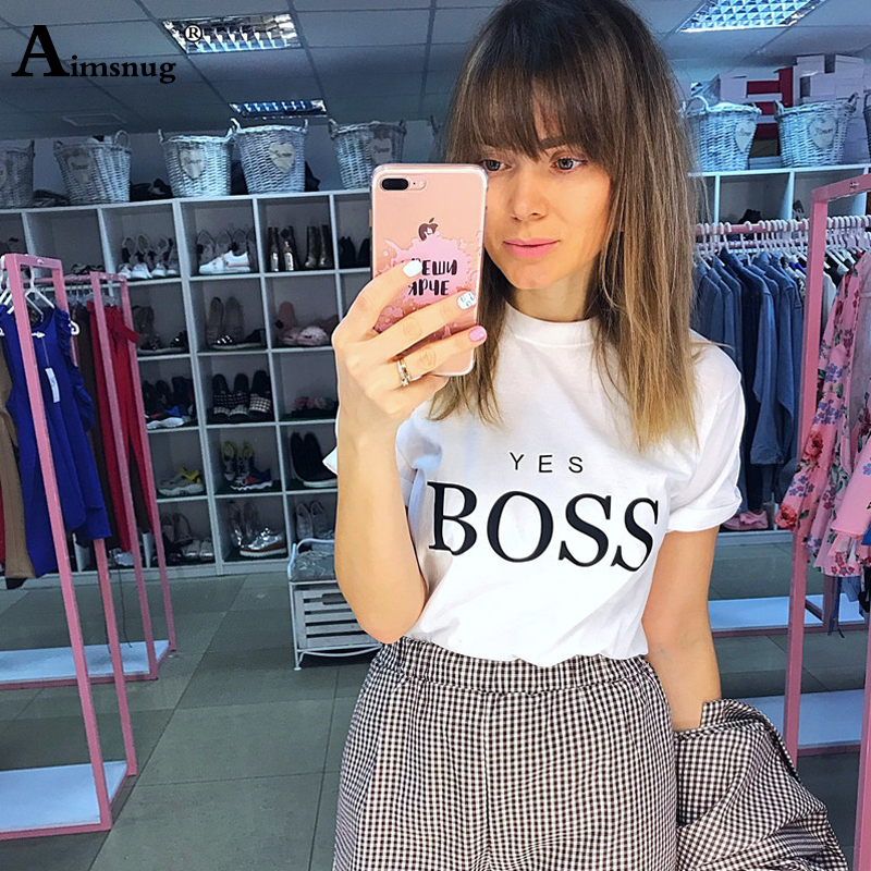 Female T Shirt 2019 New Summer Casual Tops Boss Letter Printed O Neck Fashion Tee Shirts Short Sleeve Cotton T Shirt for Women in T Shirts from Women 39 s Clothing