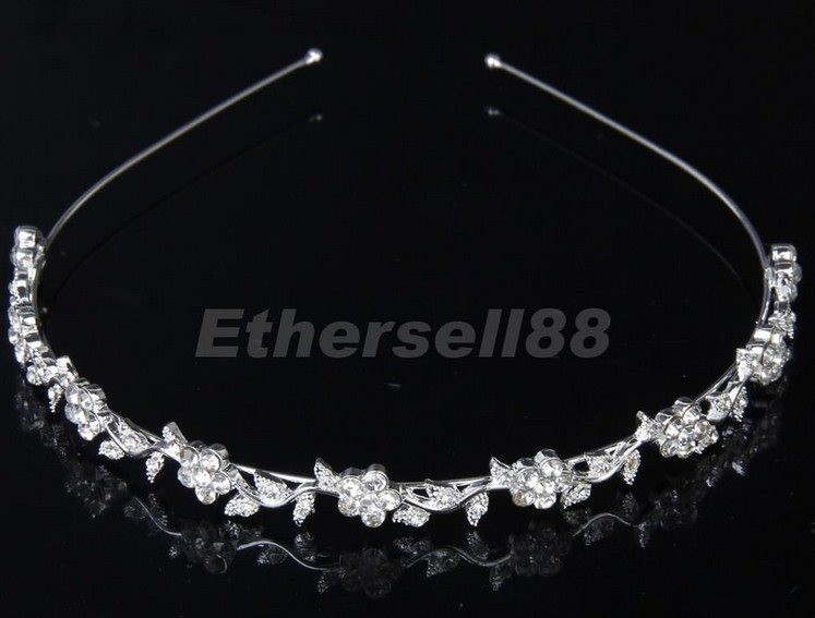 Hair-Accessories Crown Bridal-Headband Wedding-Tiaras Blossom Rhinestones Diadem Simple