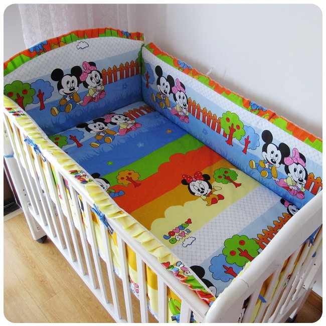 ФОТО Promotion! 6pcs mickey mouse Bed Linen in Infant,Pure Cotton Bedding Set for Crib,include(bumpers+sheet+pillow cover)