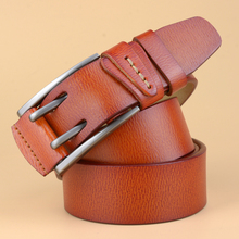 British Style Double Pin Buckle High Quality Genuine Leather Belt For Men