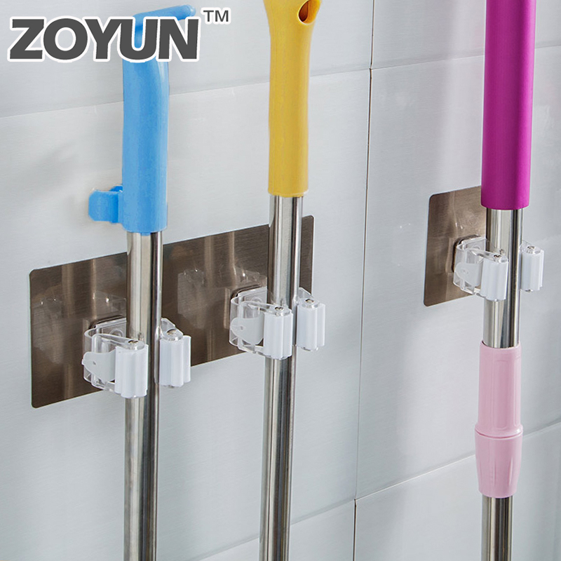 Wall Mounted Mop Holder Brush Broom Hanger Storage Rack Bathroom Organizer With Mounted Accessory Hanging Pipe Hook Kitchen Too