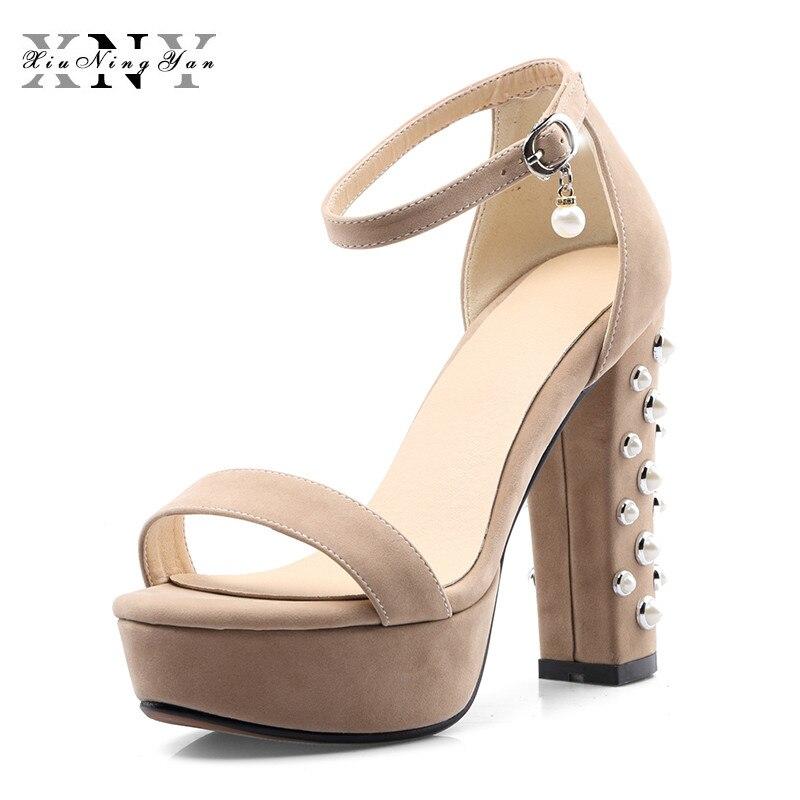 2017 Plateforme Bout 32 Grandes Chaussures D'été Décontracté Perle 46 Épais Tailles Ouvert Mujer Zapatos rouge Talons Sandales Femmes noir Troupeau Beige Petit dtqa00g