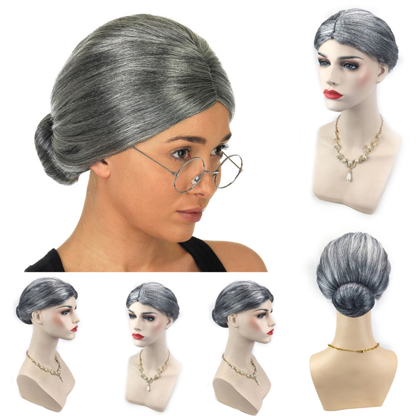 Old Lady Grandma Granny Grey Wig Bun Hair Grand Mother Fancy Dress Costume drop shipping 0922