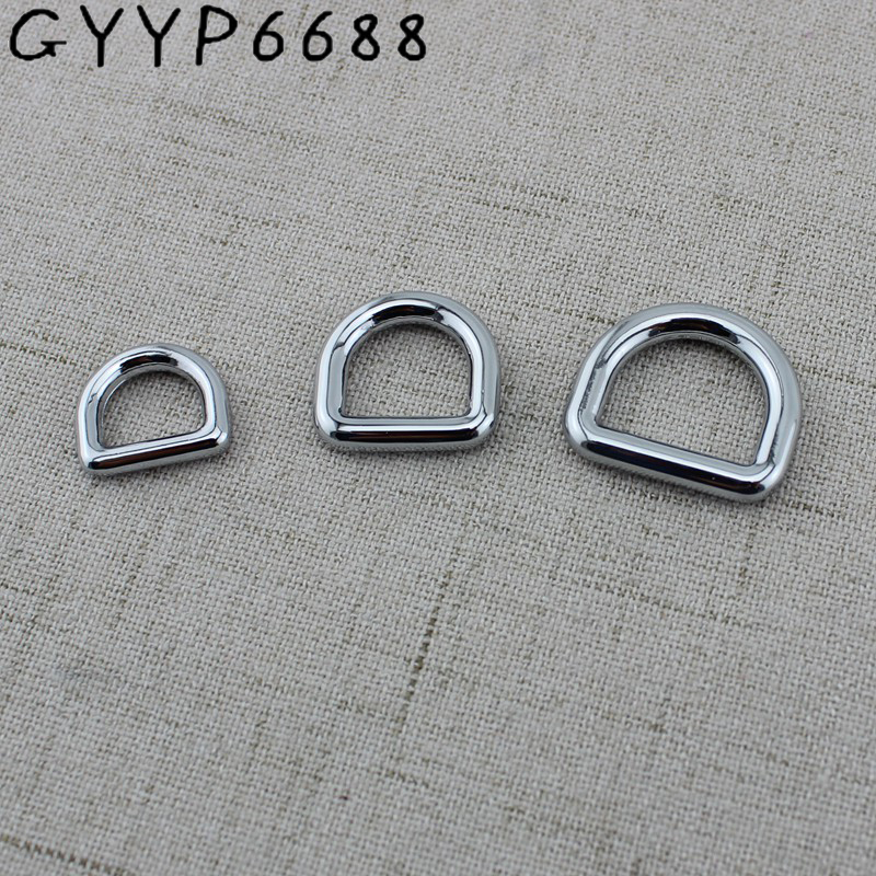 10pcs 6colors 10mm 13mm 16mm 19mm 25mm High Qualith Alloy Metal Square Edge D-ring Thin Webbing Inside Polished Closed D Ring