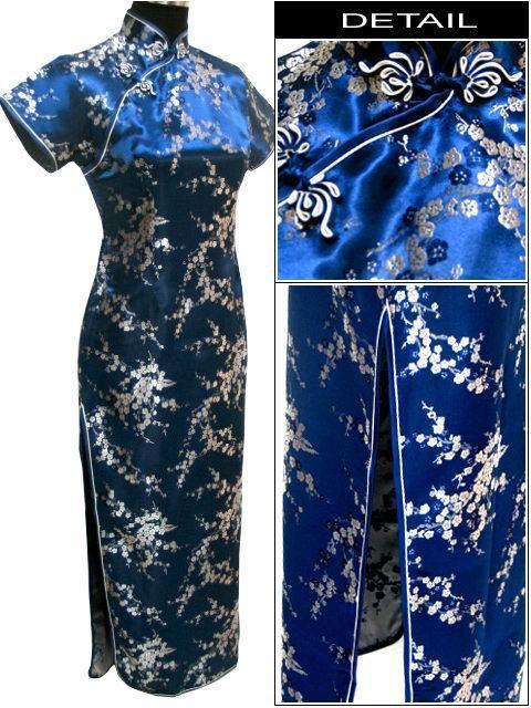 Navy Blue Fashion Women's Satin Qipao Cheongsam Socialite Elegant Long Dress Size S M L XL XXL XXXL 4XL 5XL 6XL WC107