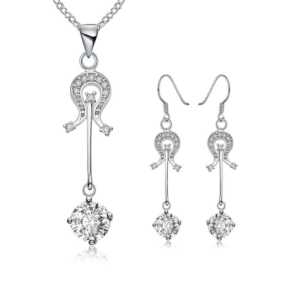 1d4e1ab77aa9 925 серебро любовный музыкальный характер ссылка камень кулон ожерелье  падение серьги для женщин прекрасно модные украшения Модные