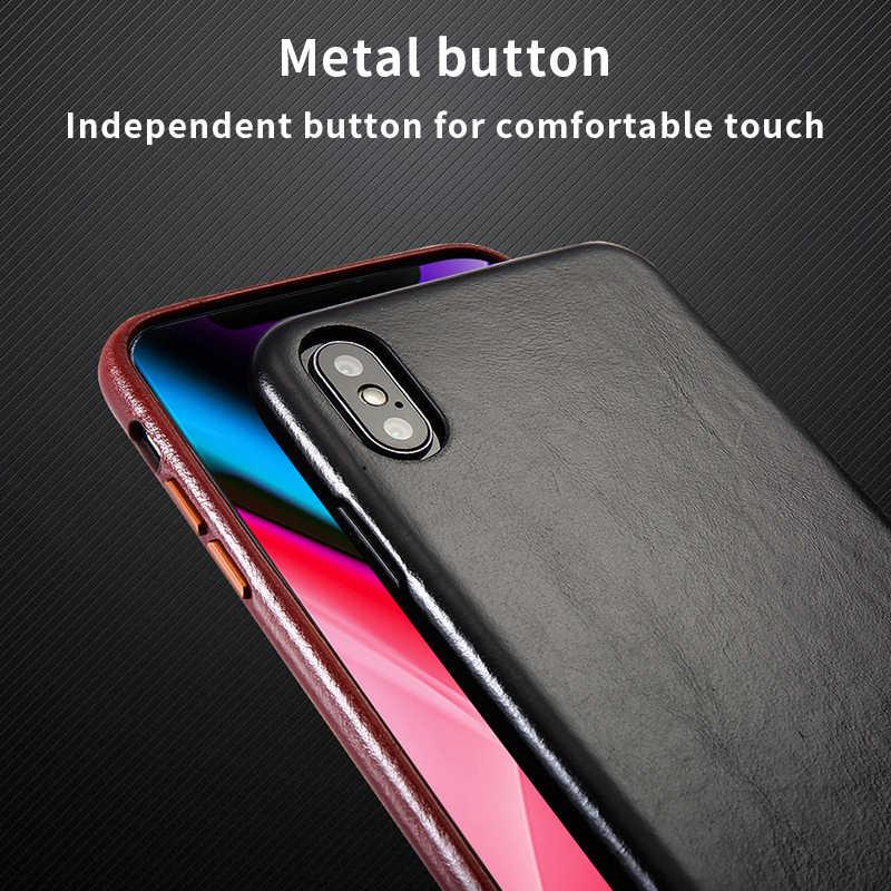 本革ケースのための iphone × XR XS XS 最大高級驚異ヴィンテージアップルの携帯電話ケースビジネス薄型バックカバーための iphone xsMAX