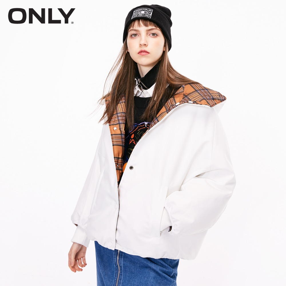 ONLY  Women's Loose Fit Reversible Check Pattern 90% Down Jacket |118323526