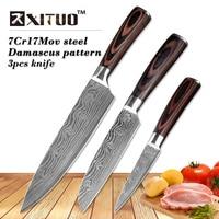 XITUO 8 5 3 5 Japanese Chef Knife Set 3 Pcs Damascus Steel Pattern Kitchen Knives