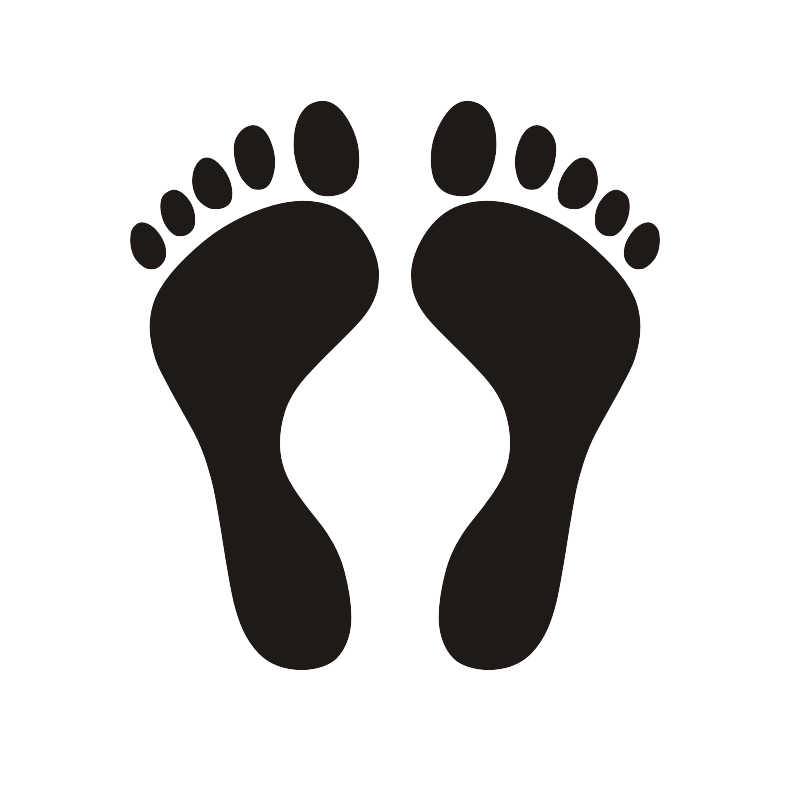 Feet Foot Footprints Wall Stickers Decals - 4 Sizes & 20 Colours Available