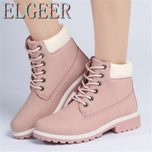 ELGEER Women PU Leather Boots 2018 Winter New Hot Large Size Riding, Equestrian Lace Casual Warm Short Plush