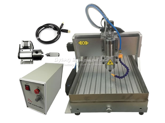 HOT sale! CNC router LY3040Z-VFD1.5KW USB 4axis cnc milling machine with water tank for wood metal carving can do 3D article cnc 5axis a aixs rotary axis t chuck type for cnc router cnc milling machine best quality
