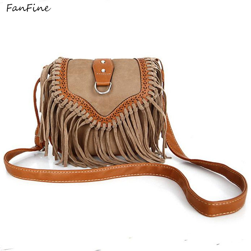 FanFine Hot Ladies Hippie Fringe Tassel Shoulder Bags Women Handbag Vintage Cross Body Bags Female High Quality Messenger Bag