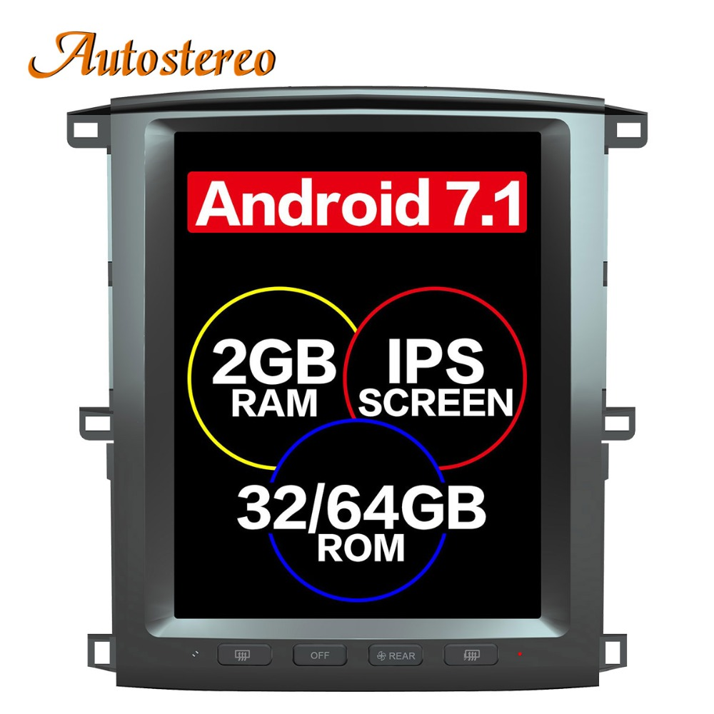 Tesla style Android Car GPS Navigation For TOYOTA LAND CRUISER LC100 03 headunit multimedia radio tape recorder no DVD player 4K