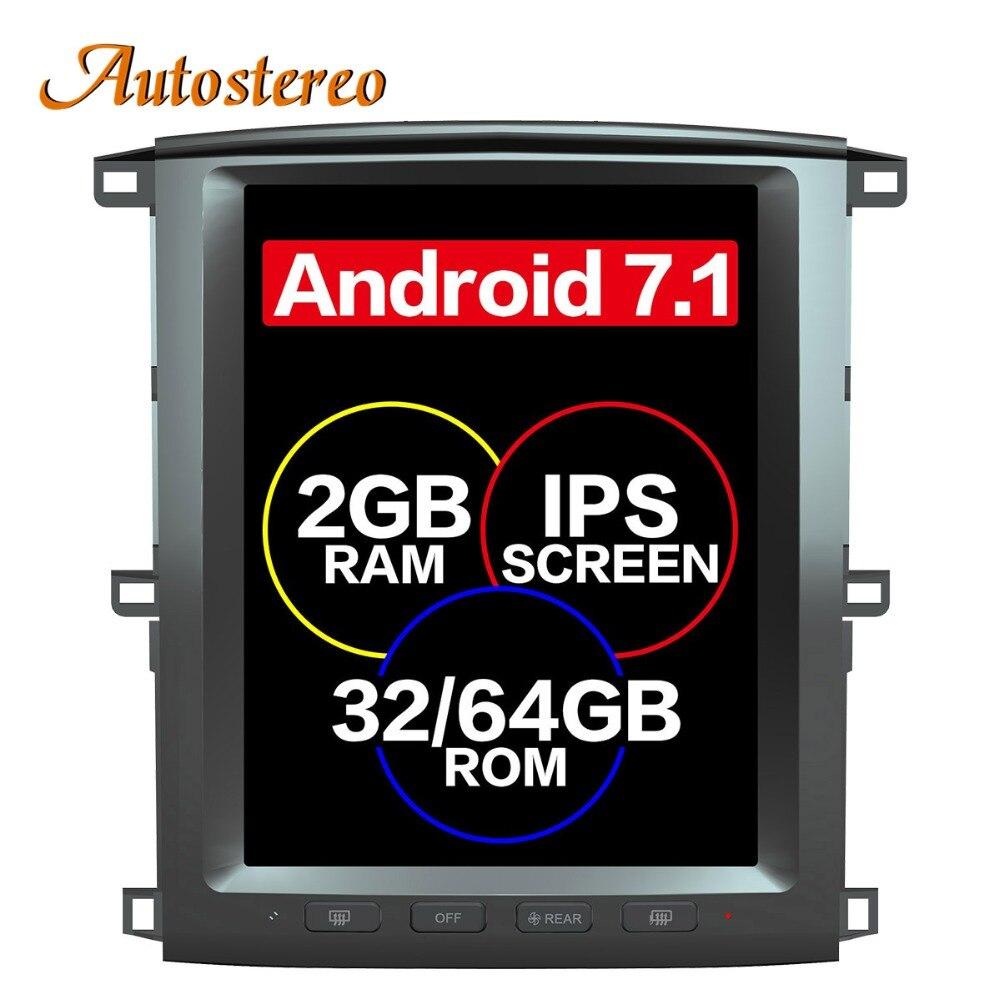 Tesla style gps android de voiture Navigation Pour TOYOTA LAND CRUISER LC100 03 headunit radio multimédia enregistreur à bande aucun lecteur dvd 4 K