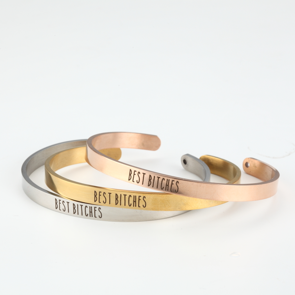 Mantra Bracelet Bangle Jewelry Birthday-Gift Best Bitches 316l-Stainless-Steel Girlfriends