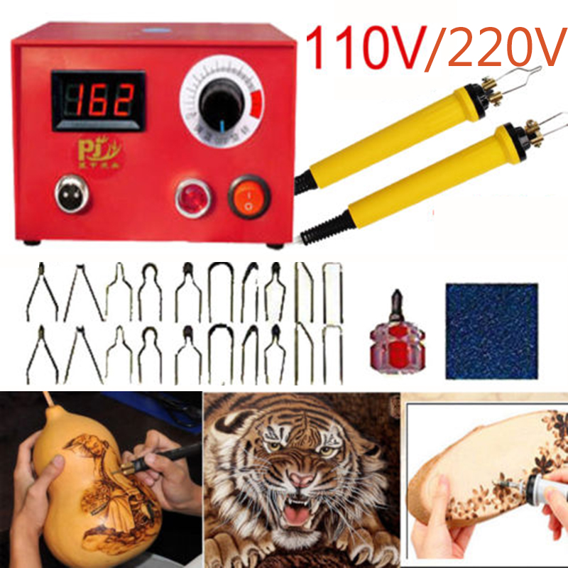 50W Multifunction Pyrography Machine Wood Burning Pen Gourd Wooden pyrography suit 2pcs pyrography pen+20 pcs blade newest pyrography machine dual interface 2 pcs pyrography pen 21 pcs iron tips for wood leather gourd pyrography machine